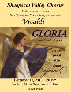 Sheepscot Valley Chorus - Vivaldi Glora - Christmas Poster 2015 - New Harbor