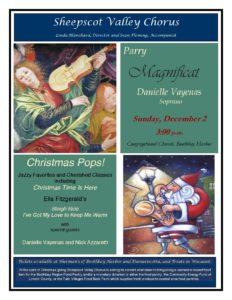 Sheepscot Chorus Presents Christmas Pops on Sunday, December 2